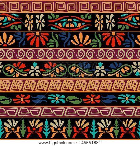 Boho ethnic seamless pattern with tribal elements. Striped vintage ornament.