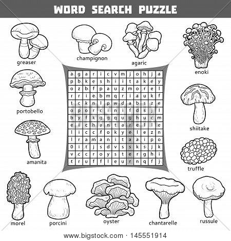 Vector Crossword About Mushrooms. Word Search Puzzle