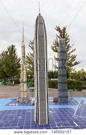 GUNZBURG GERMANY - AUG 18 2016: Highest buildings in the world at the Legoland Deutschland theme park in Gunzburg Germany