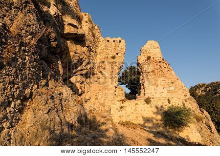 Part of the castle of Pyli at sunset in Kos island, Greece