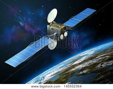 Modern communication satellite floating in space, close to Earth. 3D illustration.