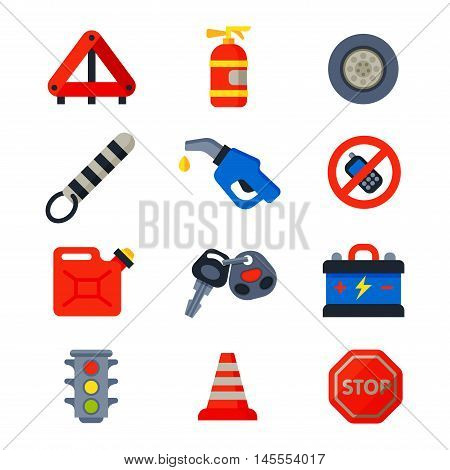 Auto transport service and car driver tools icons high detailed vector set. Motorist driving icons