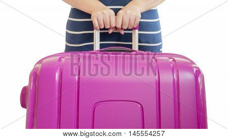 Single woman hold pink suitcase on her hand with isolated / white background with clipping path