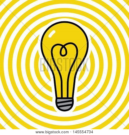 Lamp on yellow ripple background. Vector illustration