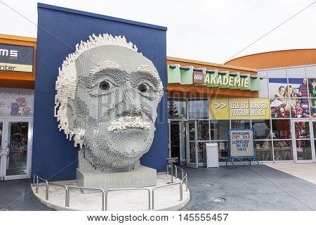 GUNZBURG GERMANY - AUG 18 2016: Albert Einstein bust at the Lego Academy in Legoland Deutschland in Guenzburg Baden Wurtemberg Germany