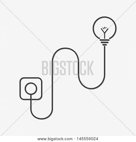 Light bulb and wire plug - vector illustration. Concept connection connection disconnection electricity. Plug cord and light bulb in flat design.