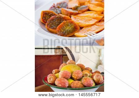 2 phothos collage of ripe mango and prickly pear cactus fruits and ready salad of its on the white background. Two photos collage of mango and prickly pear cactus fruits and salad. Horizontal. Close.