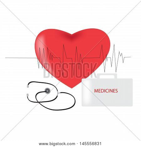 Medical logo, World Day of the doctor, Medicine logo with a red heart line beats and suitcase doctor