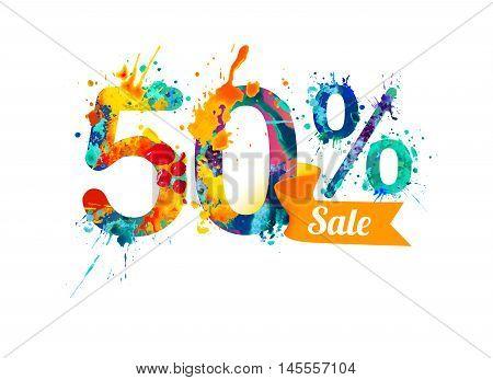 50 (fifty) percents sale. Watercolor vector splash paint