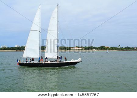 Penduick sail boat in la Rochelle,seaport located on the Bay of Biscay, a part of the Atlantic Ocean