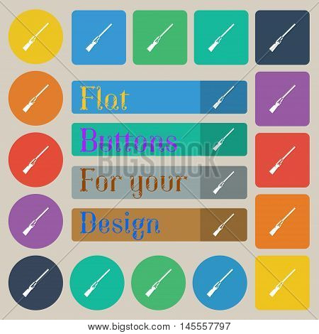 Shotgun Icon Sign. Set Of Twenty Colored Flat, Round, Square And Rectangular Buttons. Vector