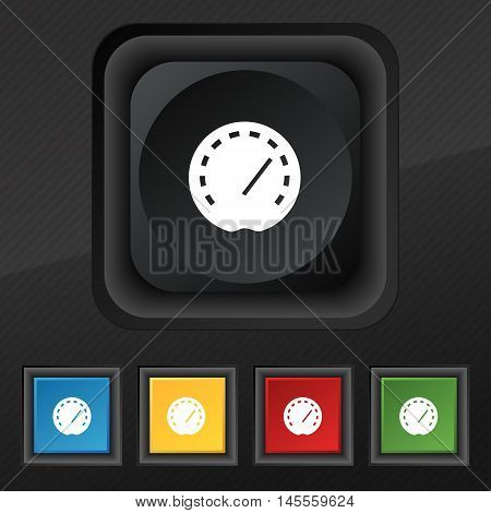 Speedometer Icon Symbol. Set Of Five Colorful, Stylish Buttons On Black Texture For Your Design. Vec
