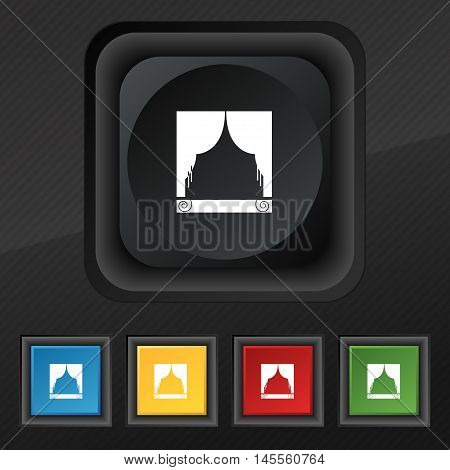 Window Curtains Icon Symbol. Set Of Five Colorful, Stylish Buttons On Black Texture For Your Design.
