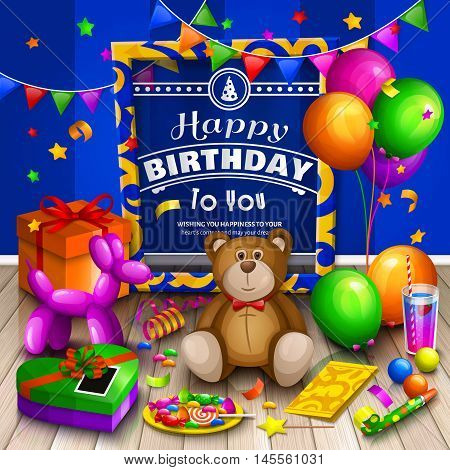 Happy birthday greeting card. Pile of colorful wrapped gift boxes. Lots of presents and toys. Party balloons, teddy bear, cocktail, dog balloon, candies, stars, blower, playing ball and colorful frame for your text on wooden floor.