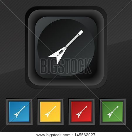 Guitar Icon Symbol. Set Of Five Colorful, Stylish Buttons On Black Texture For Your Design. Vector