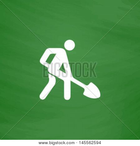 Digging man Simple vector button. Imitation draw icon with white chalk on blackboard. Flat Pictogram and School board background. Illustration symbol