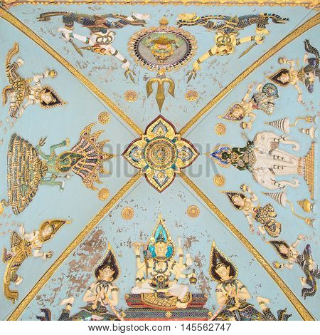 Vientiane, Laos- June 19, 2014:Ceiling Mural of Patuxai arch monument in Vientiane Laos