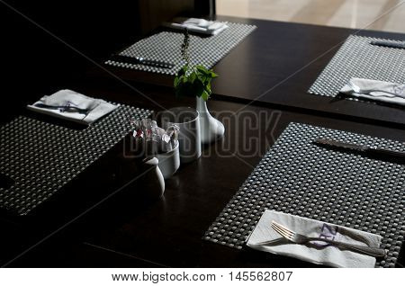 serving in the restaurant on table with backlight
