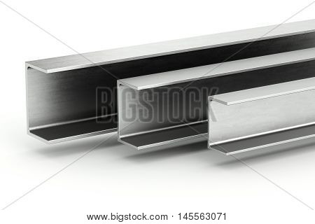 Steel channel beam on white background. 3D rendering