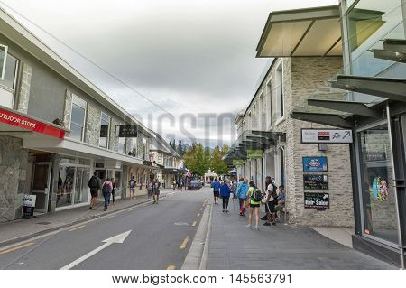 Queenstown, New Zealand - March 2016: Street Scenes And Business District Of Queenstown, South Islan