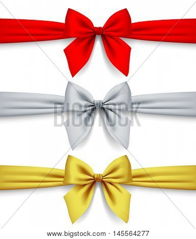 Red, silver and gold ribbons with bow isolated on white background. 3D illustration. Contains the Clipping Path