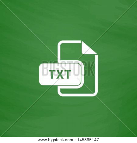TXT Simple vector button. Imitation draw icon with white chalk on blackboard. Flat Pictogram and School board background. Illustration symbol