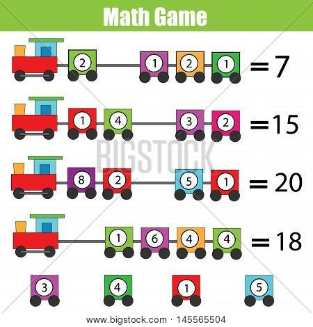 Mathematics educational game for children. Complete the equation learning counting addition