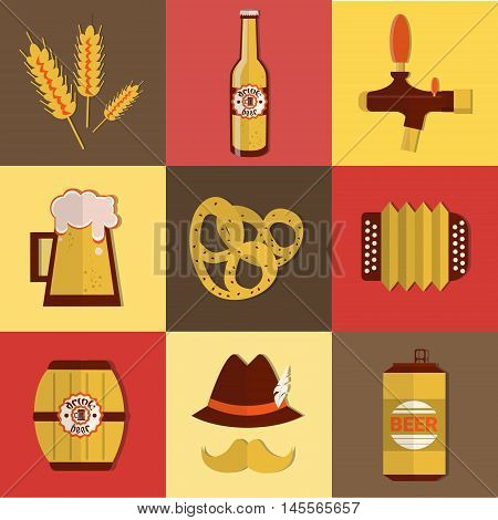 Beer Fest Oktoberfest Icon Set Festival Holiday Collection Flat Vector Illustration