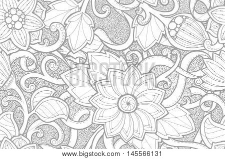Seamless black and white summer pattern with stylized flowers. Ornate seamless texture, pattern with abstract flowers. Floral pattern can be used for wallpaper, pattern fills, web page background.