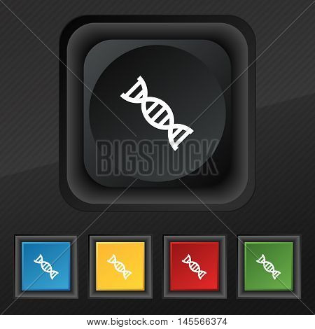 Dna Icon Symbol. Set Of Five Colorful, Stylish Buttons On Black Texture For Your Design. Vector