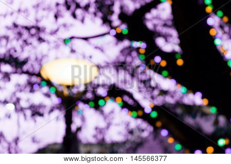 image of blur lamp post in night time abstract tree circular bokeh background