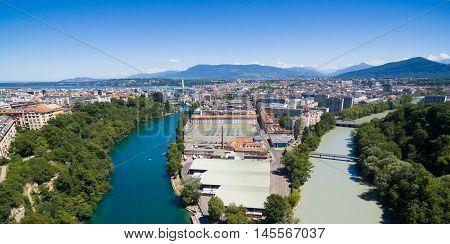 Panoramic Aerial View Of Arve An Rhone River Confluent In  Geneva Switzerland