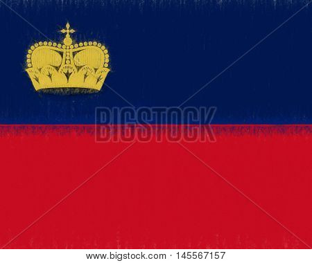 Illustration of the national flag of Liechtenstein with a smudged effect