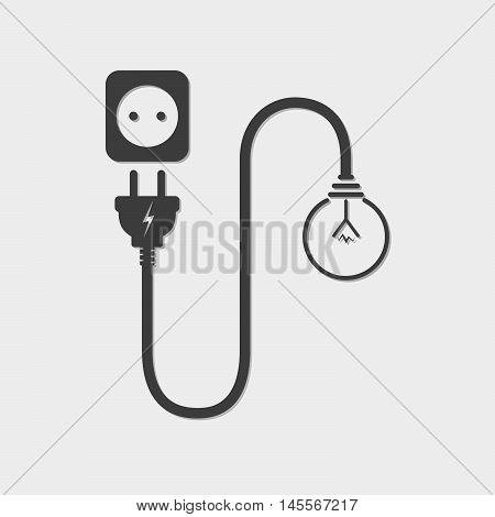 Light bulb wire plug and socket - vector illustration. Concept connection connection disconnection electricity. Plug socket cord and light bulb in flat design.