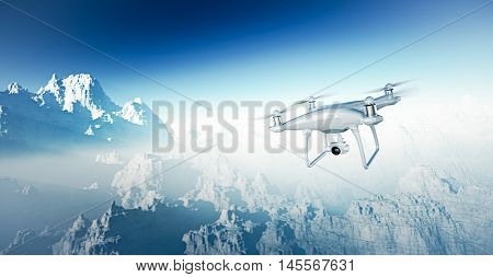 Photo White Matte Generic Design Modern RC Drone with camera Flying in Sky under the Earth Surface. Grand Canyon Background. Horizontal, front top angle view. Film Effect. 3D rendering