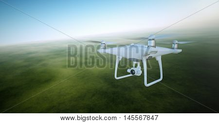 Photo White Matte Generic Design Air Drone with video action camera Flying Sky under the Earth Surface. Green Fields Background. Wide, front side angle view. Film Effect. 3D rendering