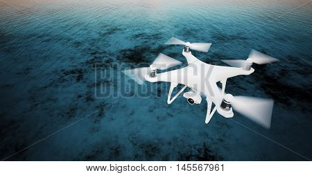 Photo White Matte Generic Design Modern Remote Control Drone action camera Flying in Sky under Water Surface. Ocean Sunrise Background. Wide, top angle view.Film Effect. 3D rendering