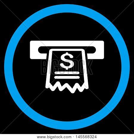 Cashier Receipt vector bicolor rounded icon. Image style is a flat icon symbol inside a circle, blue and white colors, black background.