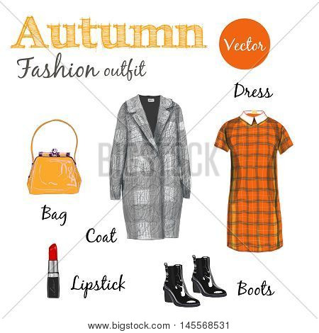 Vector autumn orange collection, fashion style, Items of clothing and accessories, isolated on white background