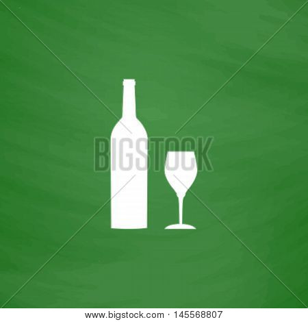 Bottle and glass Simple vector button. Imitation draw icon with white chalk on blackboard. Flat Pictogram and School board background. Illustration symbol