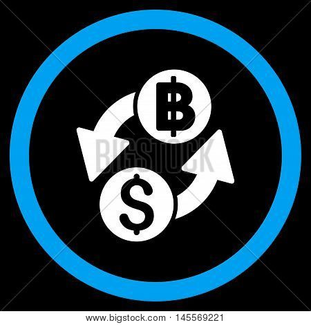Dollar Baht Exchange vector bicolor rounded icon. Image style is a flat icon symbol inside a circle, blue and white colors, black background.