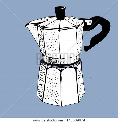 coffee maker percolator graphic. Hand drawn illustration.