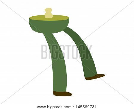 Zombie green monster foot icon and dead man zombie fantasy character body part vector. Zombie halloween cartoon death part of body vector illustration. Cartoon Halloween green zombie foot and bone