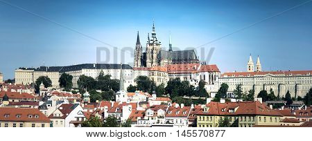 Prague landmarks. View of Hradcany with St. Vitus Cathedral.