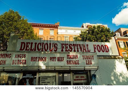 Harrisburg PA - September 3 2016: Plenty of festival food at Kipona in the Pennsylvania Capital City at the annual festival along the Susquehanna River.