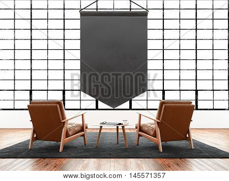 Modern interior studio loft huge panoramic window, natural color floor.Generic design furniture in contemporary business conference hall.Chillout lounge zone.Blank black pennant hanging. 3D rendering