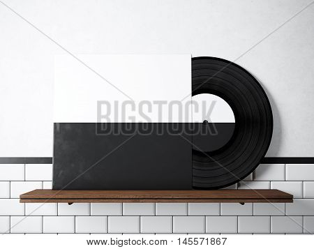 Photo vinyl music album template on natural wood bookshelf.White painted bricks wall background.Vintage style, high textured row materials.Black and White disk cover. Horizontal. 3D rendering