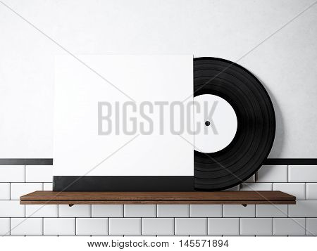 Photo vinyl music album template on natural wood bookshelf.White painted bricks wall background.Vintage style, high textured row materials.White blank disk cover. Horizontal. 3D rendering