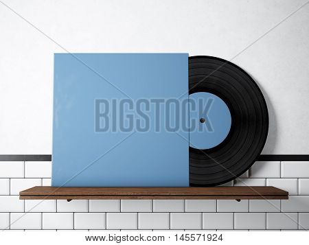 Photo vinyl music album template on natural wood bookshelf.White painted bricks wall background.Vintage style, high textured row materials.Blue blank disk cover. Horizontal. 3D rendering