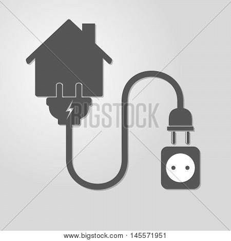 Silhouette of house with wire plug and socket - vector illustration. Simple icon with house socket and wire plug on light background. Concept of connection disconnection of the electricity.